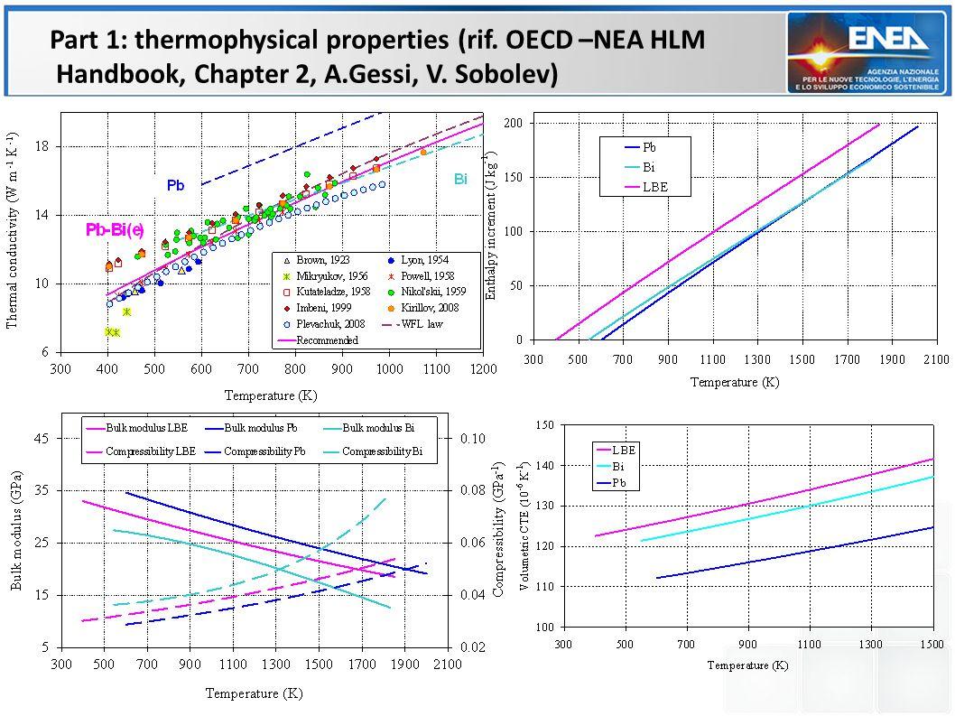 Part 1: thermophysical properties (rif. OECD –NEA HLM Handbook, Chapter 2, A.Gessi, V. Sobolev)