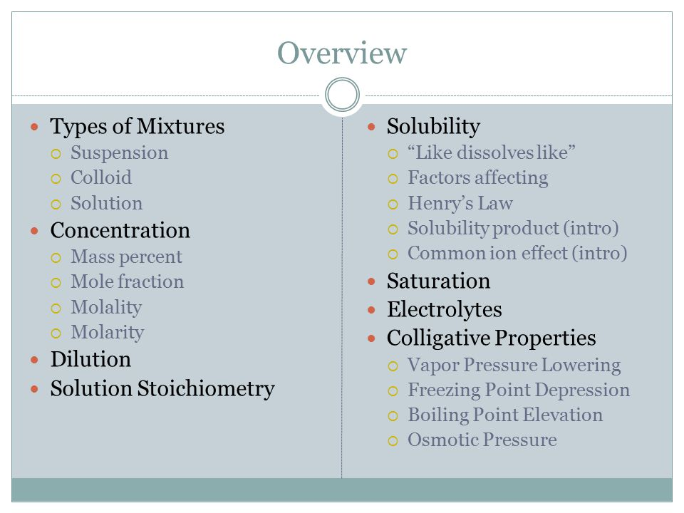 Vocabulary Solute Solute – substance being dissolved Solvent Solvent – the dissolving medium