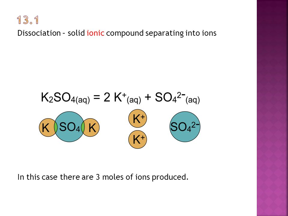 Dissociation – solid ionic compound separating into ions CuSO 4 (s)  Cu 2+ (aq) + SO 4 2- (aq) 1 mole of solid produces 2 moles of ions
