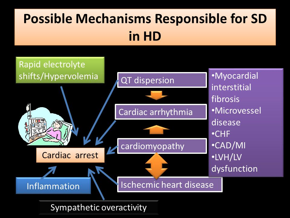 Possible Mechanisms Responsible for SD in HD Cardiac arrest QT dispersion Cardiac arrhythmia cardiomyopathy Ischecmic heart disease Myocardial interst