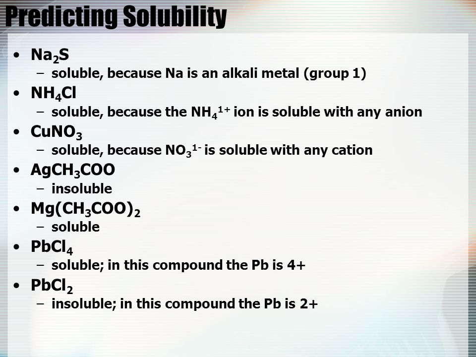 Predicting Solubility Na 2 S –soluble, because Na is an alkali metal (group 1) NH 4 Cl –soluble, because the NH 4 1+ ion is soluble with any anion CuN