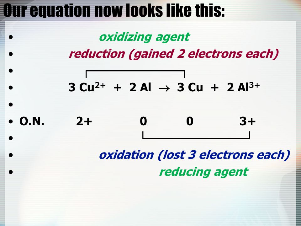 Our equation now looks like this: oxidizing agent reduction (gained 2 electrons each) ┌───────────┐ 3 Cu 2+ + 2 Al  3 Cu + 2 Al 3+ O.N. 2+ 0 0 3+ └──