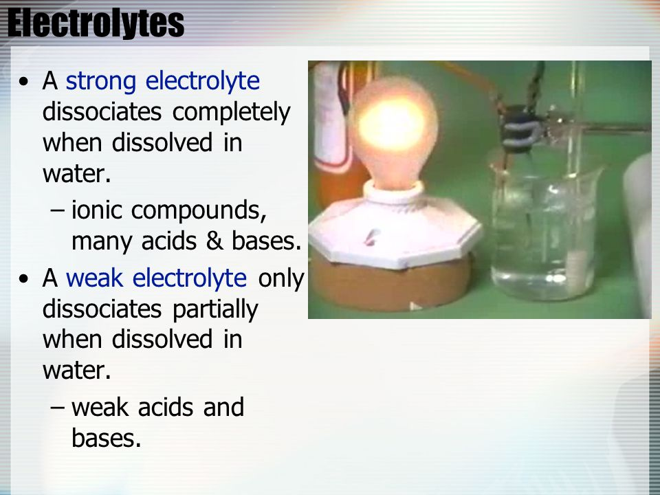 Electrolytes A strong electrolyte dissociates completely when dissolved in water. –ionic compounds, many acids & bases. A weak electrolyte only dissoc