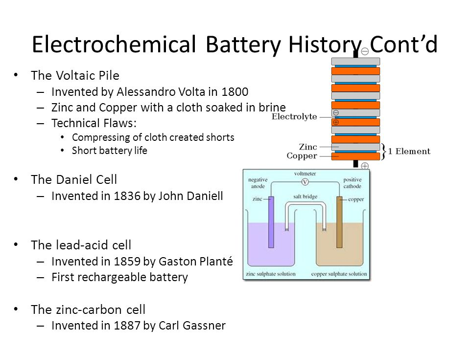 Electrochemical Battery History Cont'd The Voltaic Pile – Invented by Alessandro Volta in 1800 – Zinc and Copper with a cloth soaked in brine – Technical Flaws: Compressing of cloth created shorts Short battery life The Daniel Cell – Invented in 1836 by John Daniell The lead-acid cell – Invented in 1859 by Gaston Planté – First rechargeable battery The zinc-carbon cell – Invented in 1887 by Carl Gassner