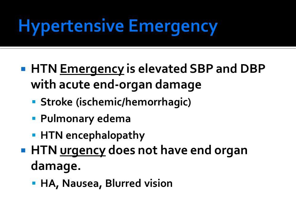  HTN Emergency is elevated SBP and DBP with acute end-organ damage  Stroke (ischemic/hemorrhagic)  Pulmonary edema  HTN encephalopathy  HTN urgency does not have end organ damage.
