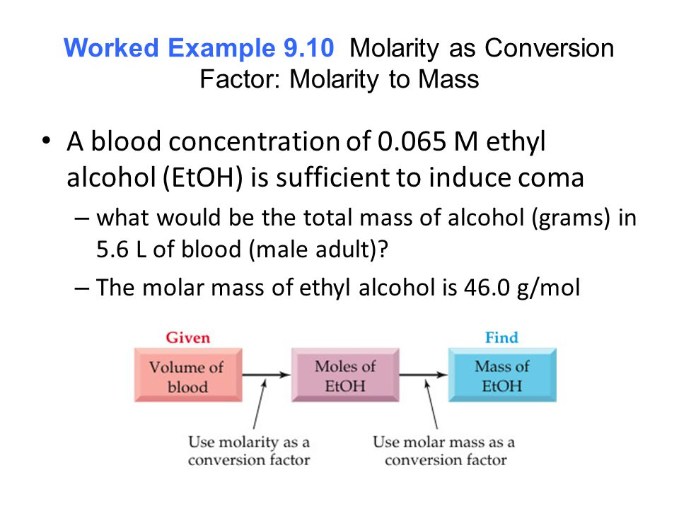 Worked Example 9.10 Molarity as Conversion Factor: Molarity to Mass A blood concentration of 0.065 M ethyl alcohol (EtOH) is sufficient to induce coma – what would be the total mass of alcohol (grams) in 5.6 L of blood (male adult).