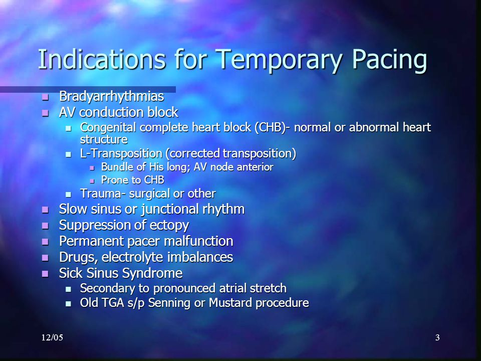 12/054 Indications for Temporary Pacing Sick Sinus Syndrome Sick Sinus Syndrome