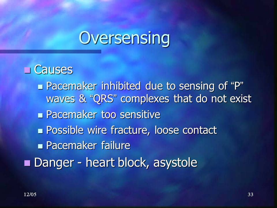 """12/0533 Oversensing Causes Causes Pacemaker inhibited due to sensing of """" P """" waves & """" QRS """" complexes that do not exist Pacemaker inhibited due to s"""
