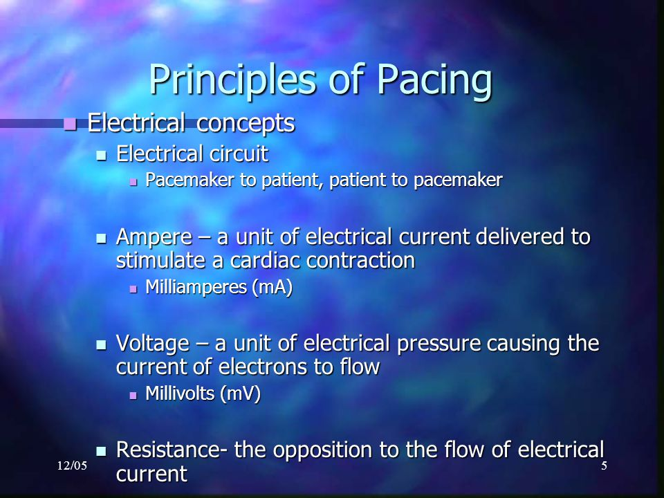 12/055 Principles of Pacing Electrical concepts Electrical concepts Electrical circuit Electrical circuit Pacemaker to patient, patient to pacemaker P