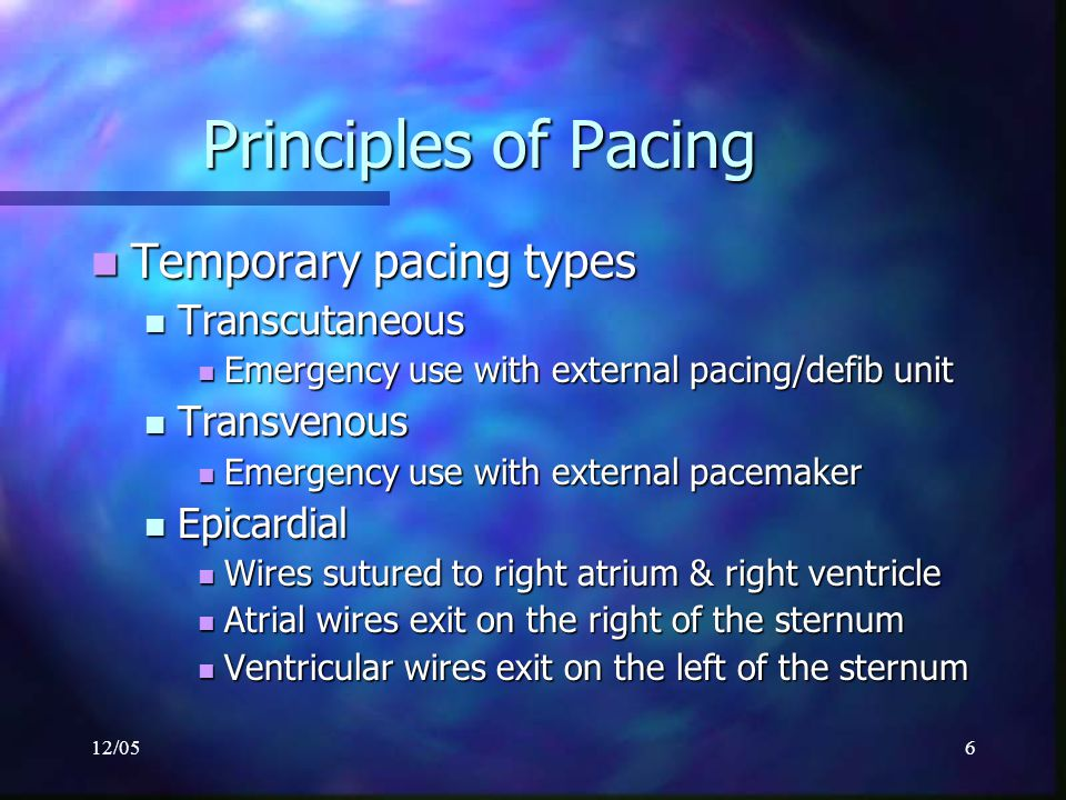 12/056 Principles of Pacing Temporary pacing types Temporary pacing types Transcutaneous Transcutaneous Emergency use with external pacing/defib unit