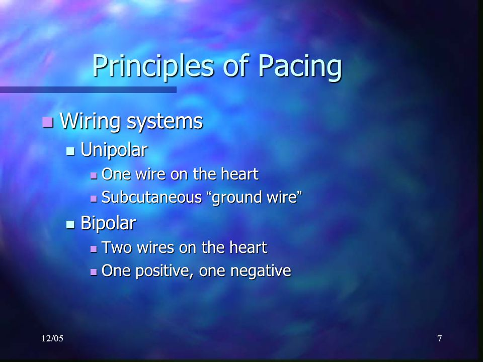 """12/057 Principles of Pacing Wiring systems Wiring systems Unipolar Unipolar One wire on the heart One wire on the heart Subcutaneous """" ground wire """" S"""