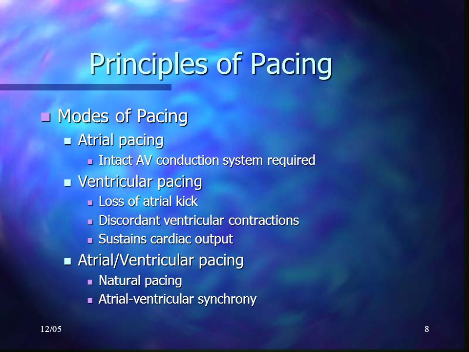 12/059 Principles of Pacing 3-letter NBG Pacemaker Code 3-letter NBG Pacemaker Code First letter: Chamber Paced First letter: Chamber Paced V- Ventricle V- Ventricle A- Atrium A- Atrium D- Dual (A & V) D- Dual (A & V) O- None O- None
