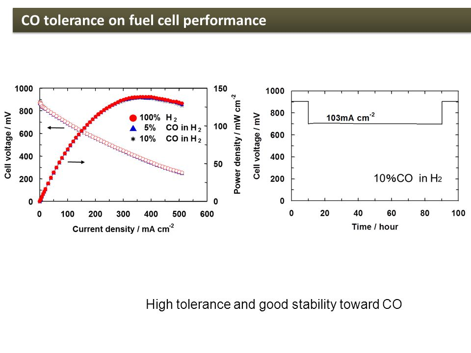 High tolerance and good stability toward CO CO tolerance on fuel cell performance