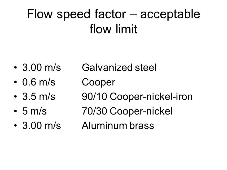 Flow speed factor – acceptable flow limit 3.00 m/s Galvanized steel 0.6 m/s Cooper 3.5 m/s 90/10 Cooper-nickel-iron 5 m/s 70/30 Cooper-nickel 3.00 m/sAluminum brass