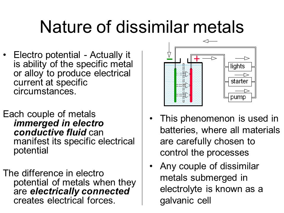 Nature of dissimilar metals Electro potential - Actually it is ability of the specific metal or alloy to produce electrical current at specific circumstances.