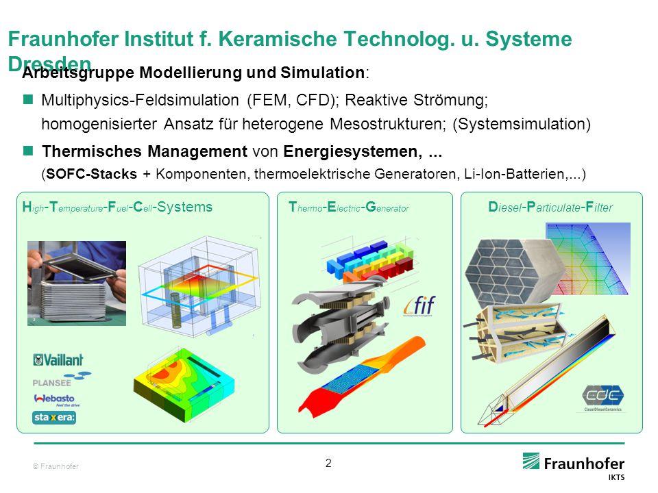 © Fraunhofer 2 Fraunhofer Institut f. Keramische Technolog. u. Systeme Dresden Arbeitsgruppe Modellierung und Simulation: Multiphysics-Feldsimulation