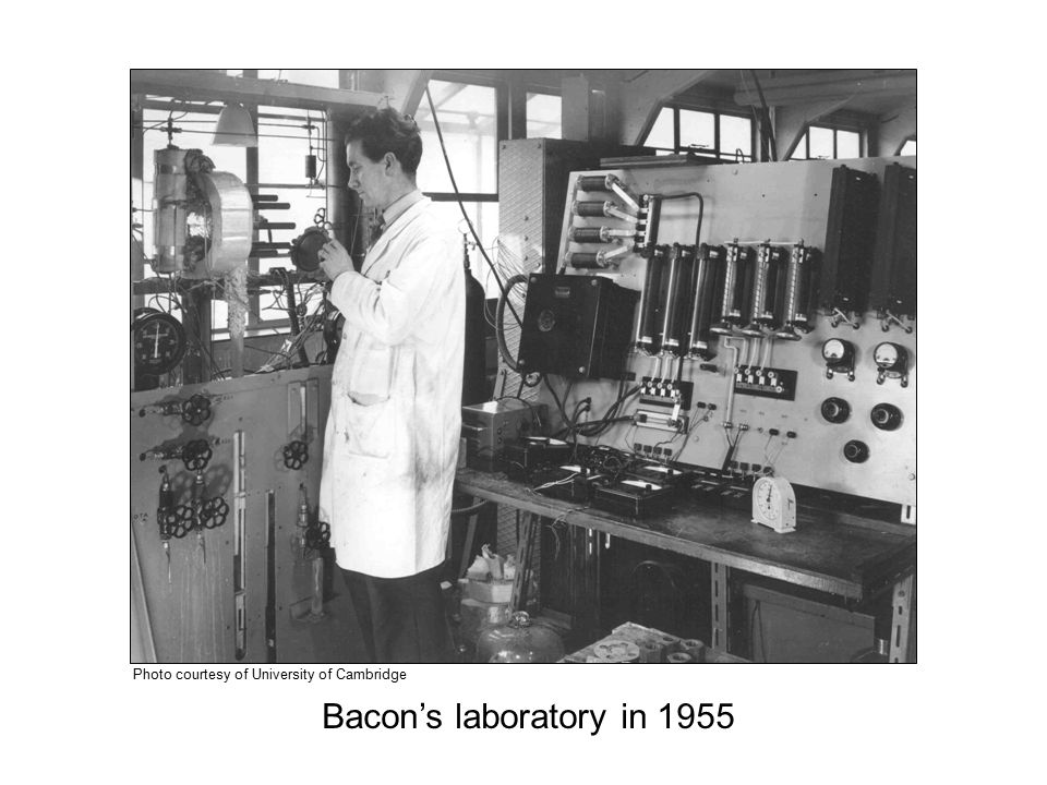 Bacon's laboratory in 1955 Photo courtesy of University of Cambridge