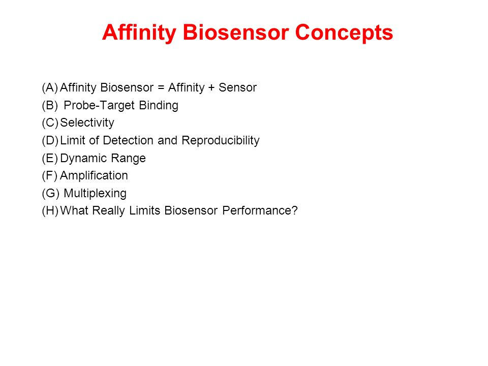 Affinity Biosensor Concepts (A)Affinity Biosensor = Affinity + Sensor (B) Probe-Target Binding (C)Selectivity (D)Limit of Detection and Reproducibilit