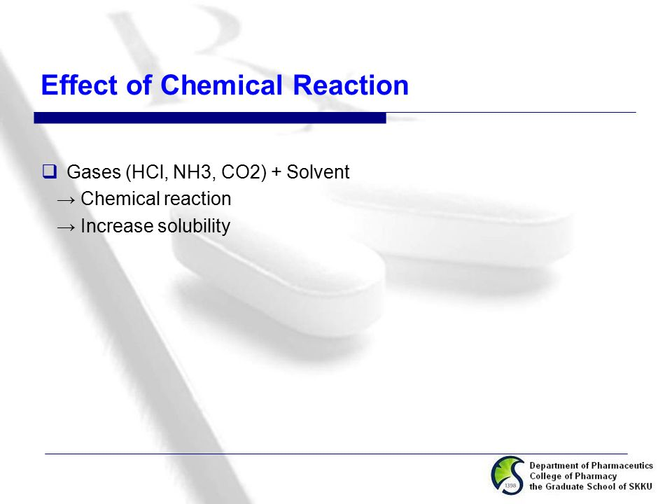 Effect of Chemical Reaction  Gases (HCl, NH3, CO2) + Solvent → Chemical reaction → Increase solubility