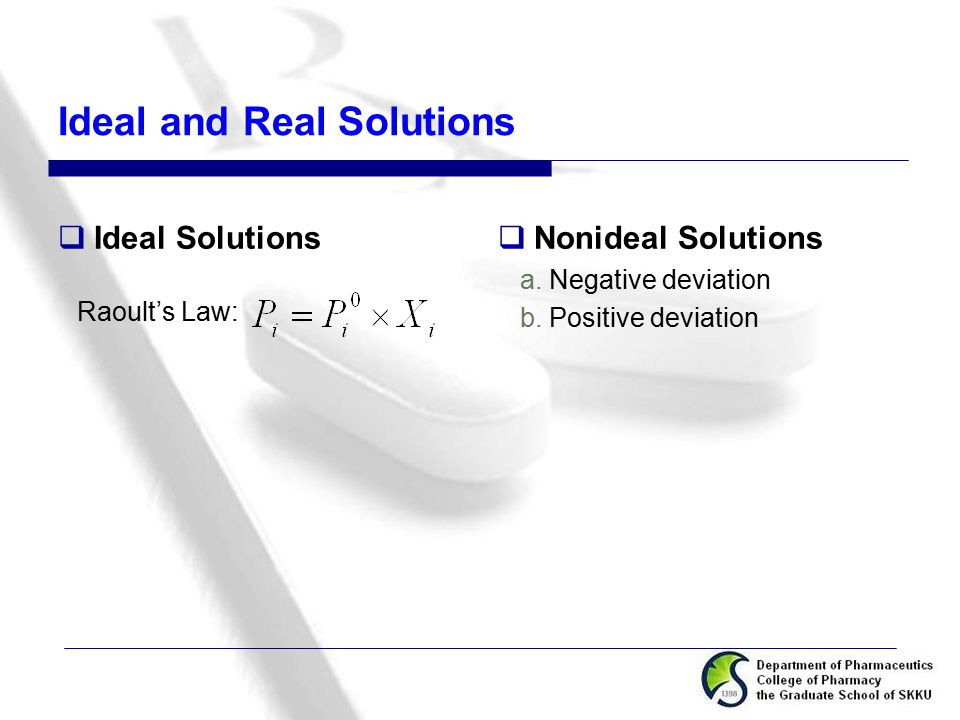 Ideal and Real Solutions  Ideal Solutions Raoult's Law:  Nonideal Solutions a. Negative deviation b. Positive deviation