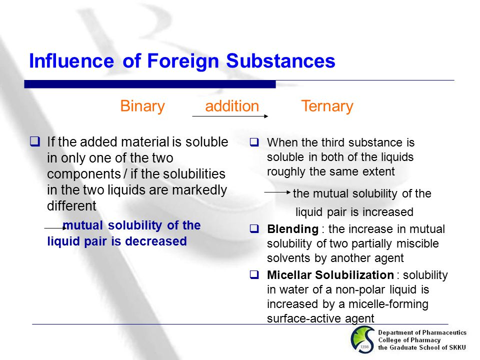 Influence of Foreign Substances  If the added material is soluble in only one of the two components / if the solubilities in the two liquids are mark