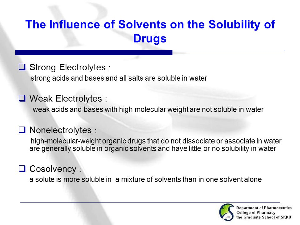 The Influence of Solvents on the Solubility of Drugs  Strong Electrolytes : strong acids and bases and all salts are soluble in water  Weak Electrol
