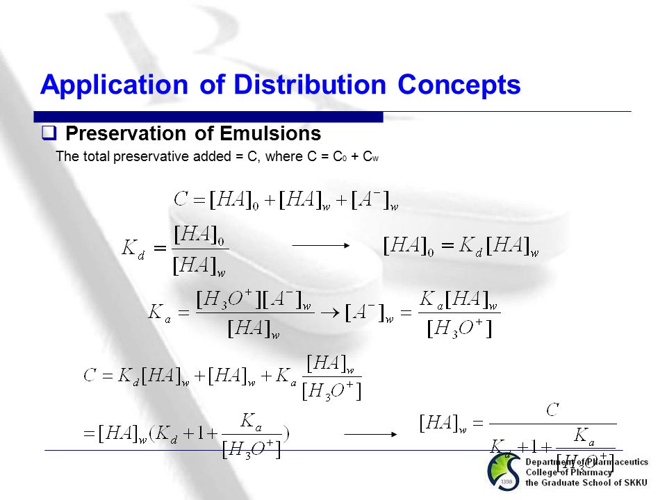Application of Distribution Concepts  Preservation of Emulsions The total preservative added = C, where C = C 0 + C w