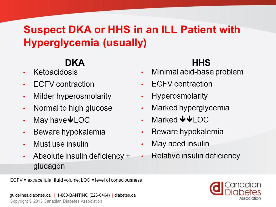 guidelines.diabetes.ca | 1-800-BANTING (226-8464) | diabetes.ca Copyright © 2013 Canadian Diabetes Association DKA Ketoacidosis ECFV contraction Milder hyperosmolarity Normal to high glucose May have  LOC Beware hypokalemia Must use insulin Absolute insulin deficiency + glucagon HHS Minimal acid-base problem ECFV contraction Hyperosmolarity Marked hyperglycemia Marked  LOC Beware hypokalemia May need insulin Relative insulin deficiency ECFV = extracellular fluid volume; LOC = level of consciousness Suspect DKA or HHS in an ILL Patient with Hyperglycemia (usually)