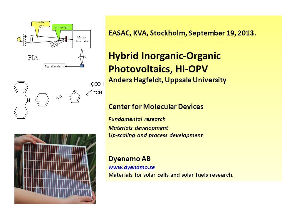Mono- chromator LED Signal analysis probe light pump light PIA EASAC, KVA, Stockholm, September 19, 2013.