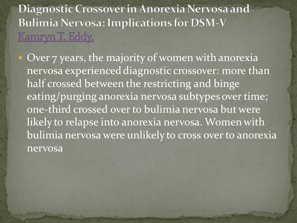 Over 7 years, the majority of women with anorexia nervosa experienced diagnostic crossover: more than half crossed between the restricting and binge e