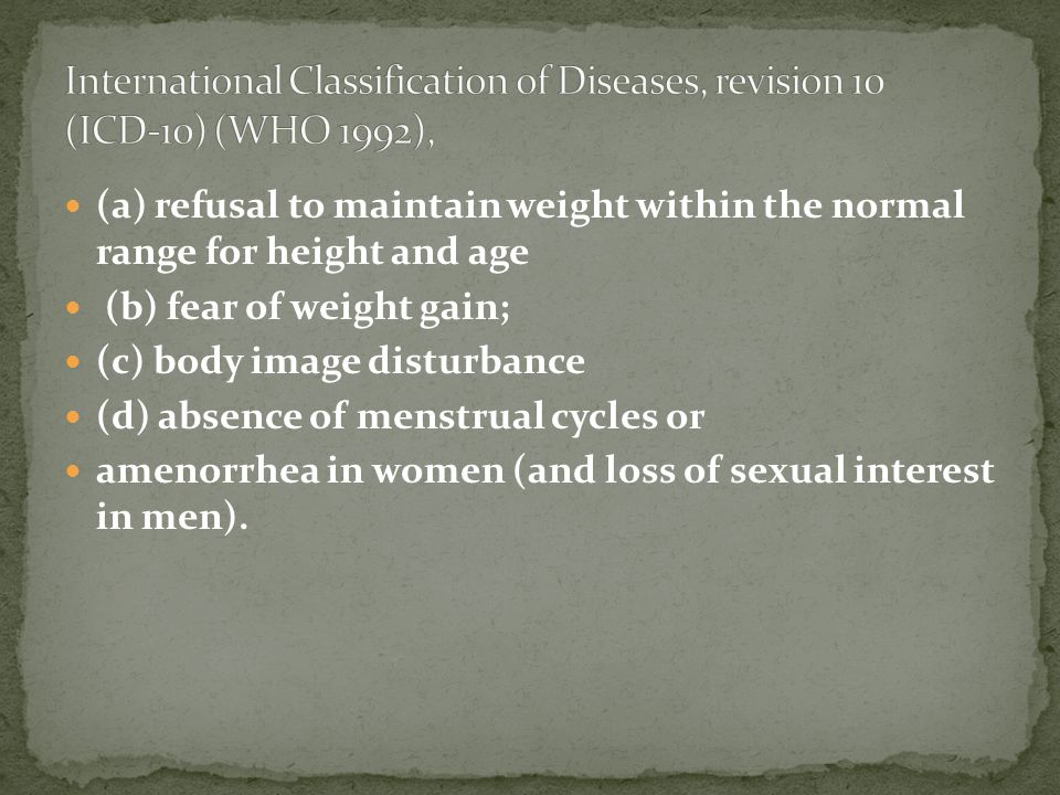 (a) refusal to maintain weight within the normal range for height and age (b) fear of weight gain; (c) body image disturbance (d) absence of menstrual