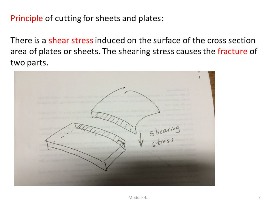 Module 4a7 Principle of cutting for sheets and plates: There is a shear stress induced on the surface of the cross section area of plates or sheets. T