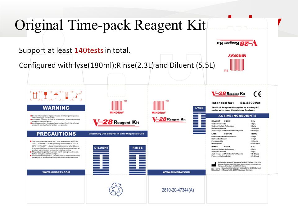 Original Time-pack Reagent Kit Support at least 140tests in total.
