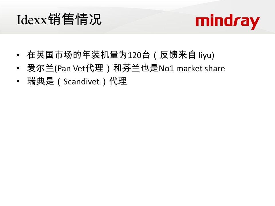 Idexx 销售情况 在英国市场的年装机量为 120 台(反馈来自 liyu) 爱尔兰 (Pan Vet 代理)和芬兰也是 No1 market share 瑞典是( Scandivet )代理