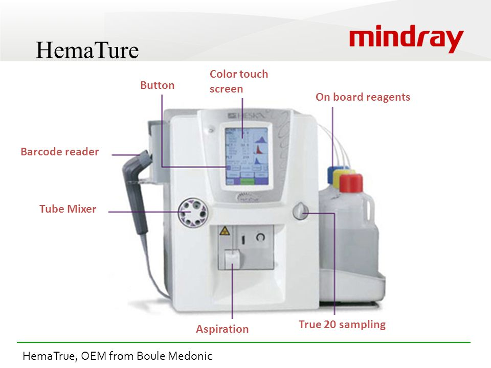 HemaTure Tube Mixer Aspiration True 20 sampling On board reagents Color touch screen Button Barcode reader HemaTrue, OEM from Boule Medonic