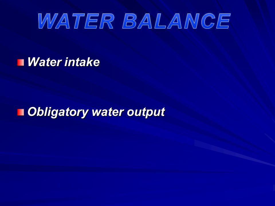 Water intake Water intake Obligatory water output Obligatory water output