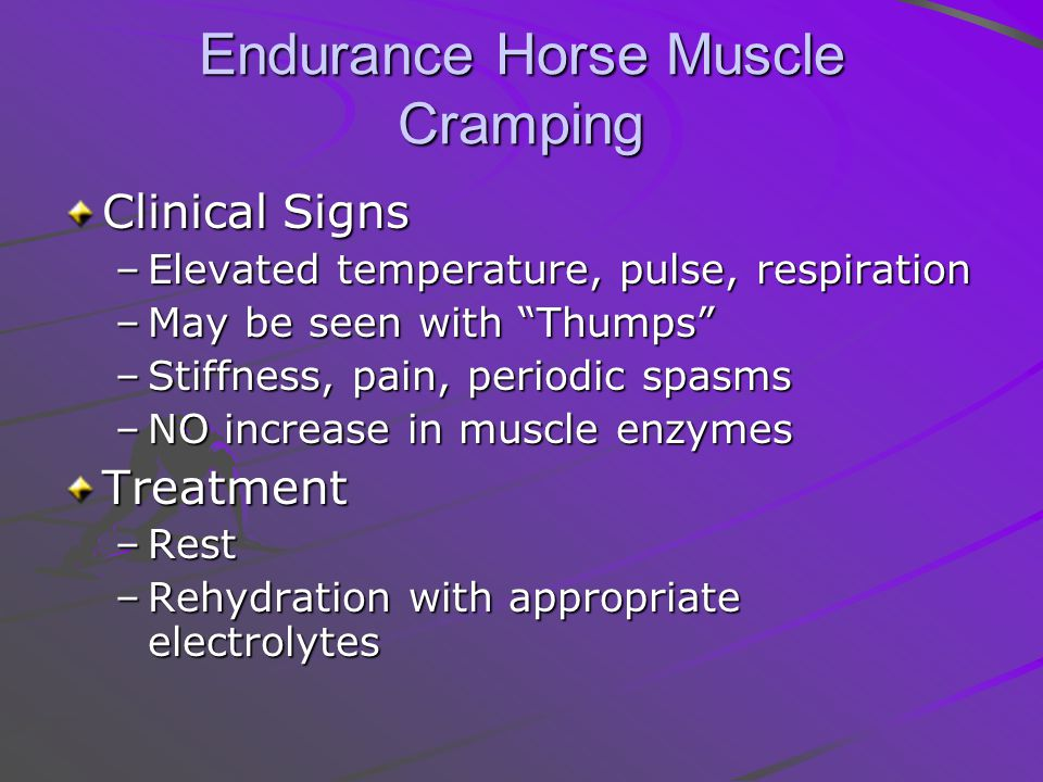 Endurance Horse Muscle Cramping Clinical Signs –Elevated temperature, pulse, respiration –May be seen with Thumps –Stiffness, pain, periodic spasms –NO increase in muscle enzymes Treatment –Rest –Rehydration with appropriate electrolytes