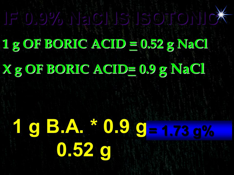 IF 0.9% NaCl IS ISOTONIC 1 g OF BORIC ACID = 0.52 g NaCl X g OF BORIC ACID= 0.9 g NaCl X g BORIC ACID = 1 g B.A. * 0.9 g 0.52 g = 1.73 g%