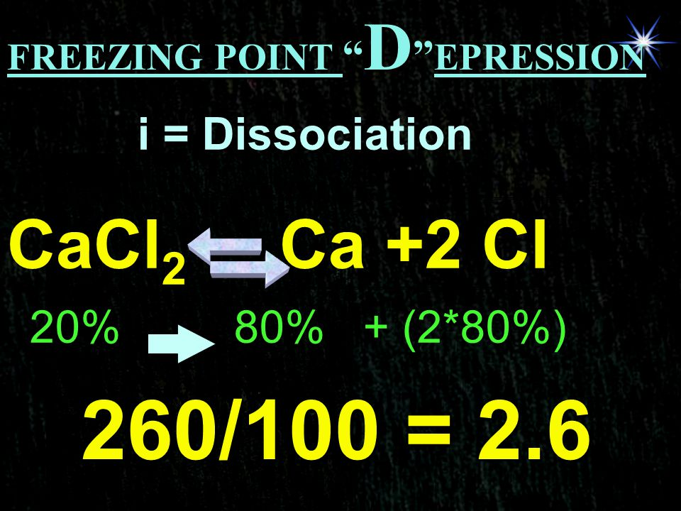 "FREEZING POINT "" D "" EPRESSION i = Dissociation CaCl 2 Ca +2 Cl 20%80% + (2*80%) 260/100 = 2.6"
