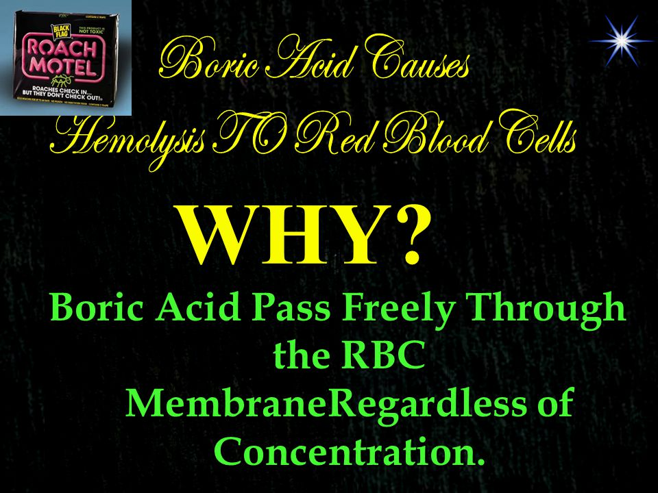 Boric Acid Pass Freely Through the RBC MembraneRegardless of Concentration. WHY?