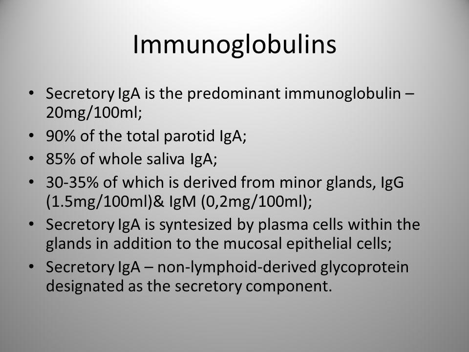 Immunoglobulins Secretory IgA is the predominant immunoglobulin – 20mg/100ml; 90% of the total parotid IgA; 85% of whole saliva IgA; 30-35% of which i