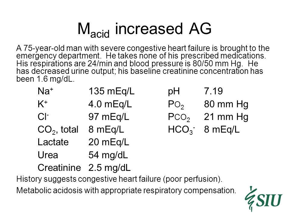M acid increased AG A 75-year-old man with severe congestive heart failure is brought to the emergency department.