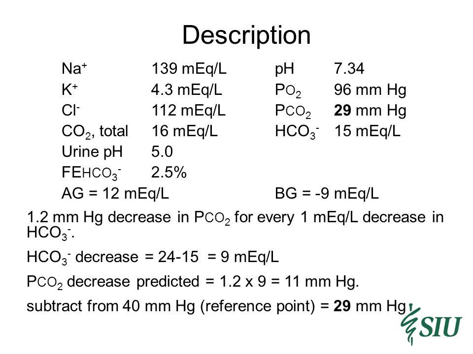 Description Na + 139 mEq/LpH7.34 K + 4.3 mEq/LP O 2 96 mm Hg Cl - 112 mEq/LP CO 2 29 mm Hg CO 2, total16 mEq/LHCO 3 - 15 mEq/L Urine pH5.0 FE HCO 3 - 2.5% AG = 12 mEq/LBG = -9 mEq/L 1.2 mm Hg decrease in P CO 2 for every 1 mEq/L decrease in HCO 3 -.