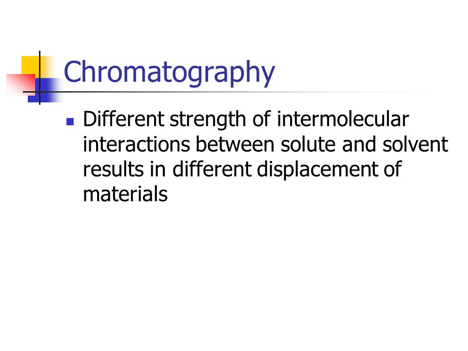 Chromatography Different strength of intermolecular interactions between solute and solvent results in different displacement of materials