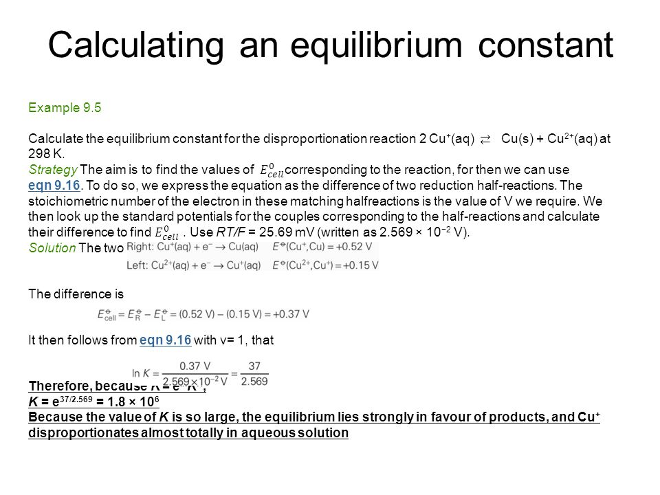 Calculating an equilibrium constant