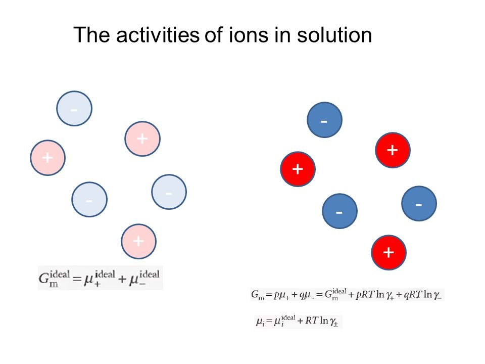 - - - + + + - - - + + + The activities of ions in solution