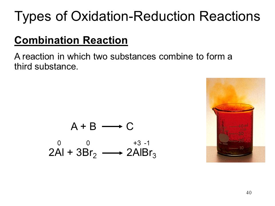 40 Types of Oxidation-Reduction Reactions Combination Reaction A + B C 2Al + 3Br 2 2AlBr 3 00 +3 A reaction in which two substances combine to form a third substance.