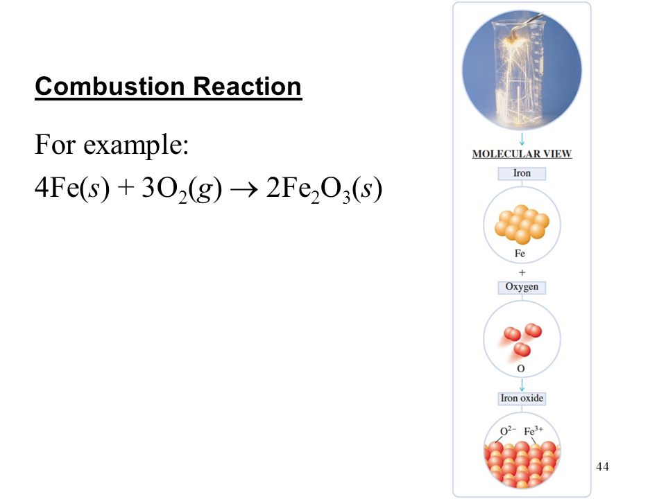 44 4 | 44 For example: 4Fe(s) + 3O 2 (g)  2Fe 2 O 3 (s) Combustion Reaction