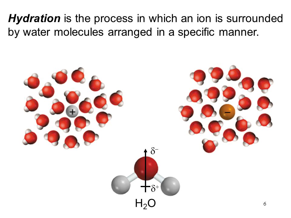 6 Hydration is the process in which an ion is surrounded by water molecules arranged in a specific manner.