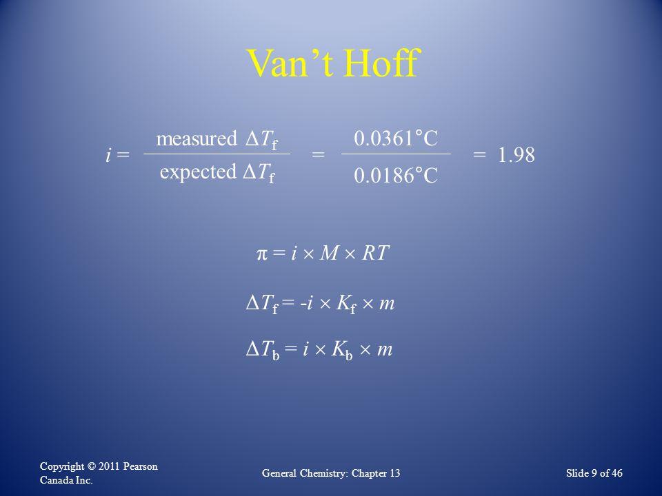Van't Hoff Copyright © 2011 Pearson Canada Inc.